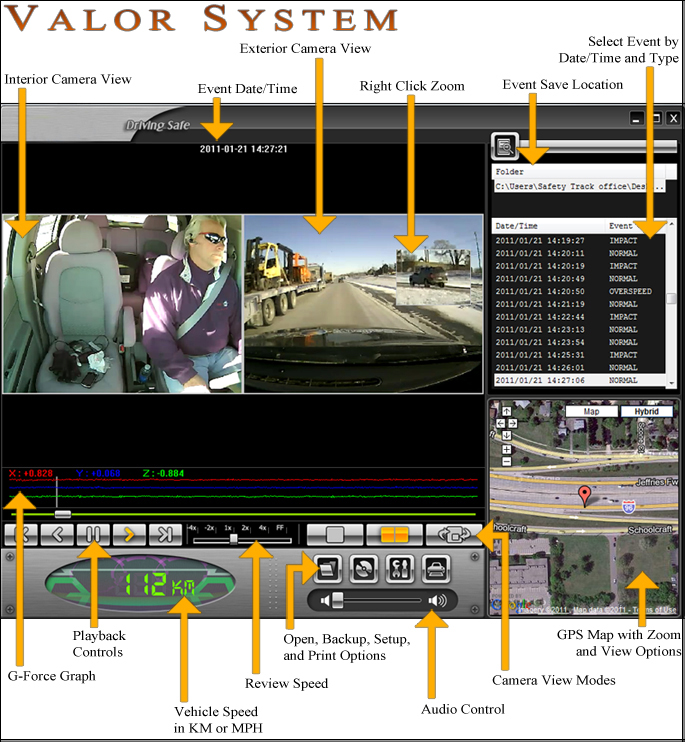 Car Camera DVR Software Screen Shot Labels