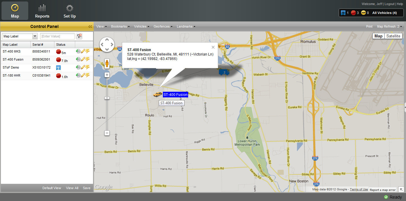 VS 300 GPS Tracking Map